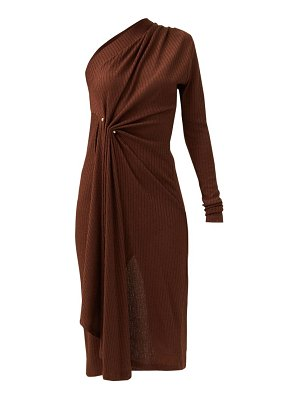 Dodo Bar Or hanna one-shoulder pinned ribbed-jersey dress