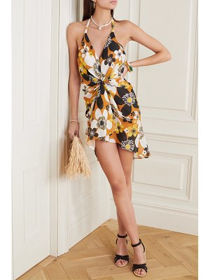 Dodo Bar Or jeniffer gathered floral-print cotton-voile halterneck mini dress