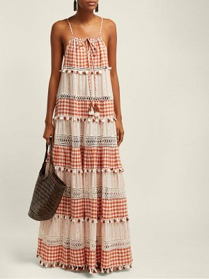 Dodo Bar Or patricia tiered gingham maxi dress