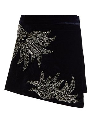 Dodo Bar Or Paula Embellished Velvet Mini Skirt