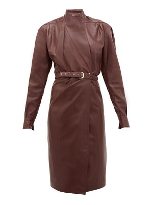 Dodo Bar Or tony belted leather wrap dress