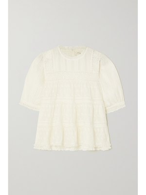 DÔEN adnet embroidered tiered organic cotton-voile blouse