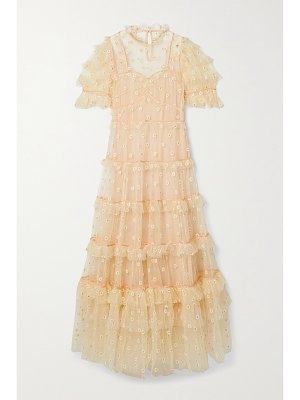 DÔEN orelia tiered embroidered tulle maxi dress