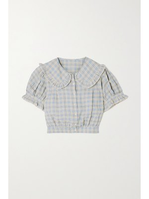 DÔEN sparrow cropped ruffled checked ramie blouse