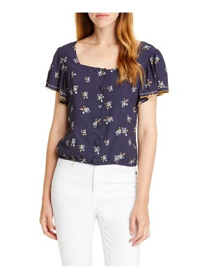 Dolan embroidered square neck top