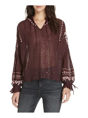 Dolan lily embroidered peasant top