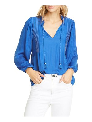 Dolan mara tassel tie split neck top