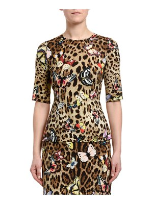 Dolce & Gabbana 3/4-Sleeve Leopard & Butterfly-Print Charmeuse Top