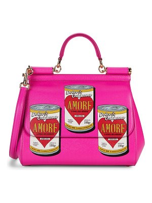 Dolce & Gabbana Amore Soup-Print Leather Satchel