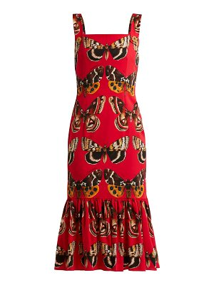Dolce & Gabbana butterfly print silk blend midi dress