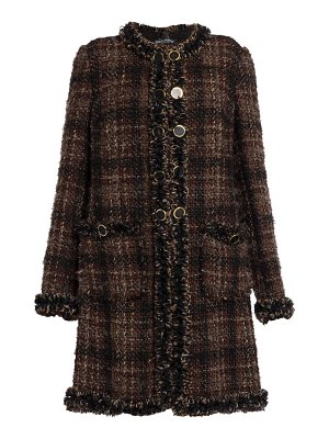 Dolce & Gabbana collarless tweed coat
