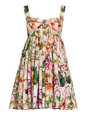 Dolce & Gabbana cotton poplin floral-print bustier mini dress