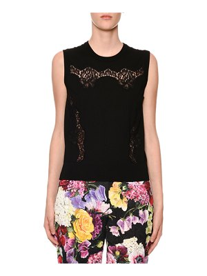 Dolce & Gabbana Crewneck Sleeveless Knit Shell Top with Lace Inset