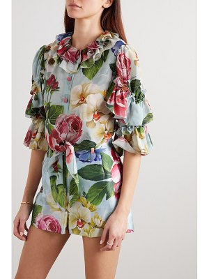 Dolce & Gabbana cropped ruffled tie-front floral-print silk blouse