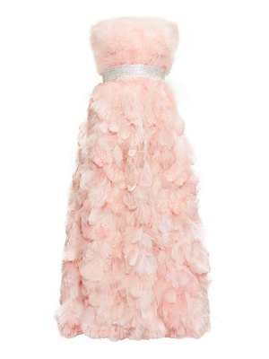 Dolce & Gabbana crystal-embellished feather-trimmed silk gown