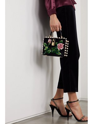 Dolce & Gabbana dolce box embellished embroidered velvet and watersnake tote