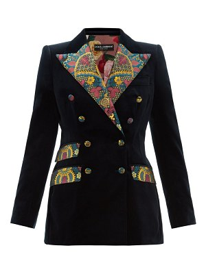 Dolce & Gabbana double breasted floral brocade and velvet blazer