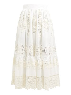 Dolce & Gabbana Embroidered Guipure Lace Cotton Blend Maxi Skirt