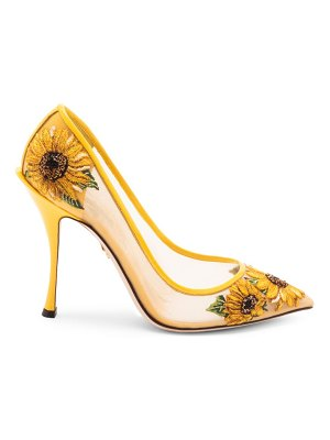 Dolce & Gabbana embroidered sunflower mesh pumps