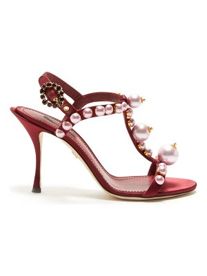 Dolce & Gabbana faux-pearl embellished t-bar stiletto sandals