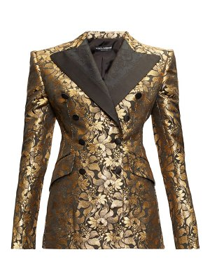 Dolce & Gabbana floral lamé-jacquard double-breasted blazer