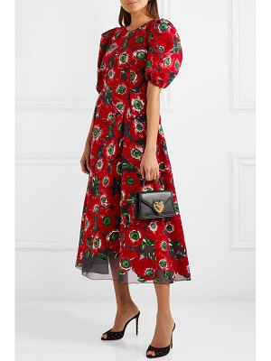 Dolce & Gabbana floral-print flocked georgette midi dress