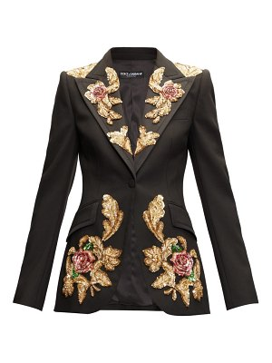 Dolce & Gabbana floral-sequinned single-breasted wool-blend blazer