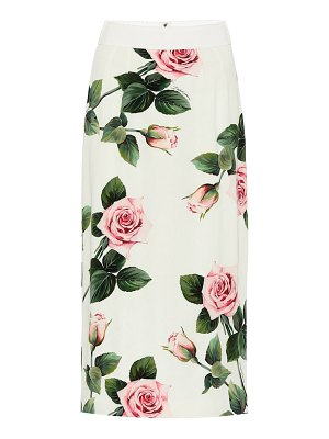 Dolce & Gabbana floral stretch-silk midi skirt