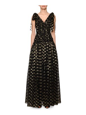 Dolce & Gabbana Flutter-Sleeve Fil Coupe Dotted Chiffon Gown