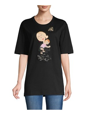Dolce & Gabbana Graphic Patch Cotton-Blend Tee