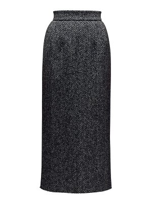 Dolce & Gabbana high rise wool blend herringbone pencil skirt