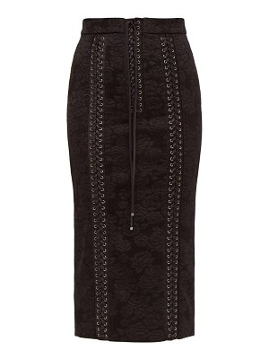 Dolce & Gabbana lace up floral jacquard pencil skirt