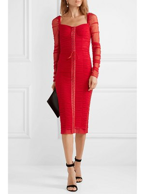 Dolce & Gabbana lace-up silk-trimmed ruched tulle midi dress