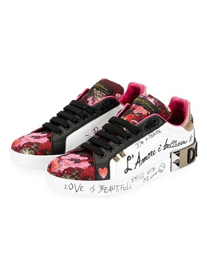 Dolce & Gabbana Leather and Floral-Jacquard Graffiti Low-Top Sneakers