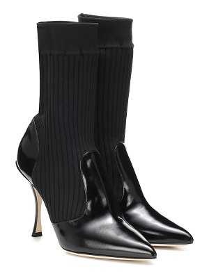Dolce & Gabbana Leather-trimmed ankle boots