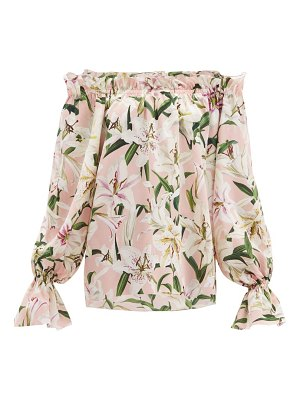Dolce & Gabbana lily-print off-the-shoulder silk top