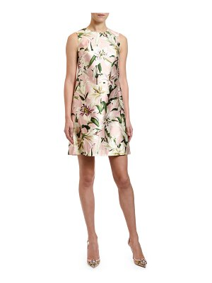 Dolce & Gabbana Lily Print Silk Shantung Shift Dress