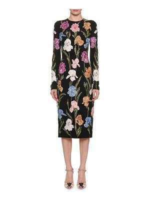 Dolce & Gabbana Long-Sleeve Floral-Embroidered Pencil Midi Dress