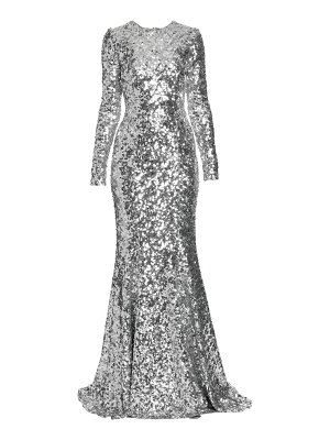 Dolce & Gabbana long-sleeve sequin flare gown