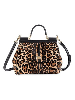 Dolce & Gabbana medium sicily leopard-print calf hair leather top handle bag