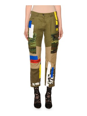 Dolce & Gabbana Military Patchwork Cropped Drill Pants