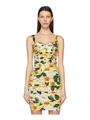 Dolce & Gabbana multicolor silk ruched floral tank top