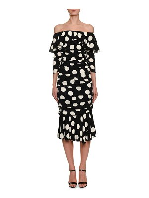 Dolce & Gabbana Off-the-Shoulder Polka-Dot Midi Dress