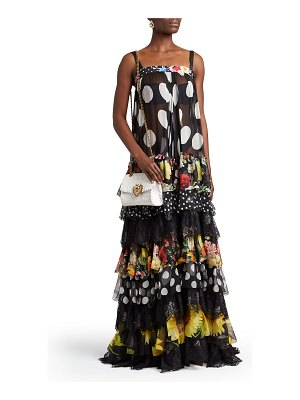 Dolce & Gabbana Patchwork-Print Tiered Chiffon Gown
