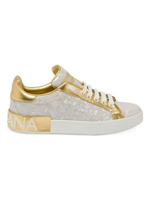 Dolce & Gabbana pearlescent leather sneakers
