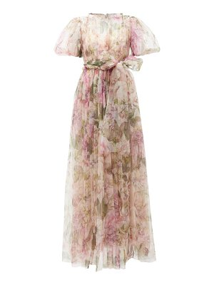 Dolce & Gabbana peony-print fuff-sleeve tulle gown