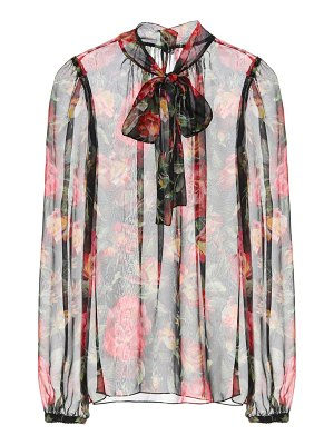 Dolce & Gabbana Printed silk pussy-bow blouse