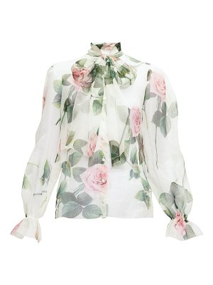 Dolce & Gabbana pussy-bow floral-print organza blouse