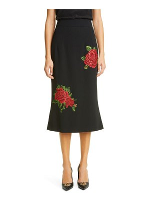 Dolce & Gabbana rose embroidered a-line crepe skirt