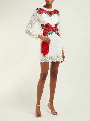 Dolce & Gabbana rose embroidered lace mini dress